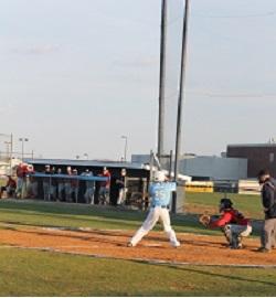 Junior Eric Johnson is up to bat