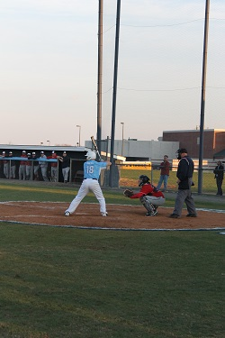 Sophomore Brett Kreyer is up to bat