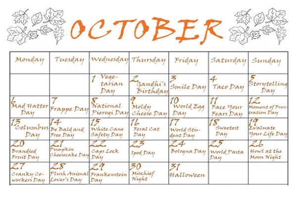 October 2014 Special and Wacky Holidays
