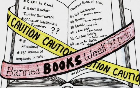 Hand-drawn infographic depicting the purpose of Banned Books Week