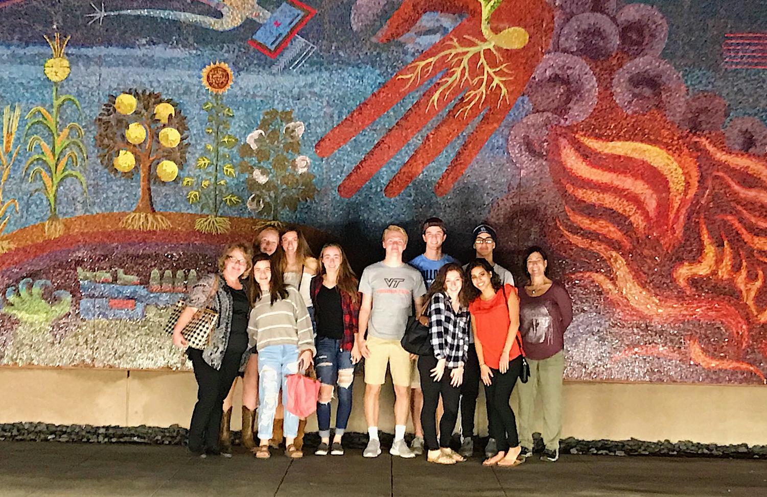 Journalism students and chaperons on the convention trip, tour the city of Dallas including the art district.